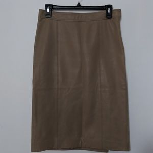 Theory tan leather pencil skirt size 4